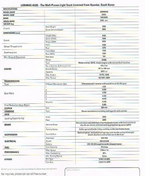 teknikal spesifikasi lori mas au 26