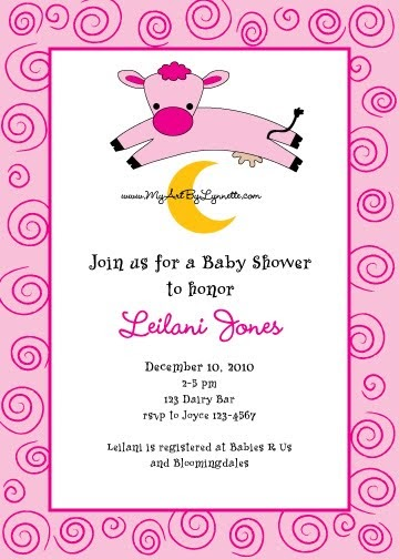 lynnetteart cow jumps over the moon baby shower invitation