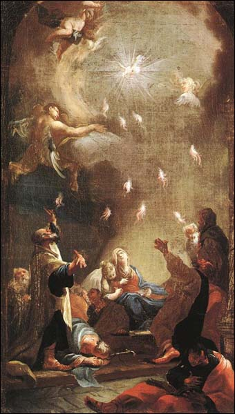 Acts 2, Day one of the Church, receives the Holy Spirit dans immagini sacre mildorfer_pentecost340x600