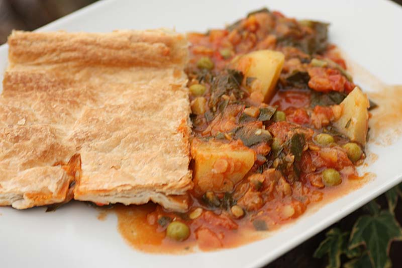 ... lentil and mango chutney pie is rich and sweet. It is belly warming