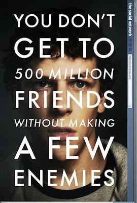 La Red Social, cartel - No se consiguen 500 millones de amigos sin hacer algunos enemigos