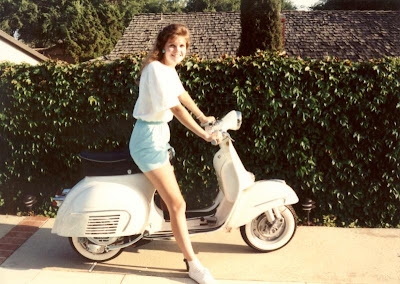 White Vespa Motor Scooter