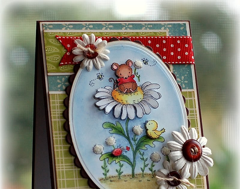 pickled paper designs  mouse on daisy