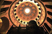 Inside the Church of the Holy Sepulchure