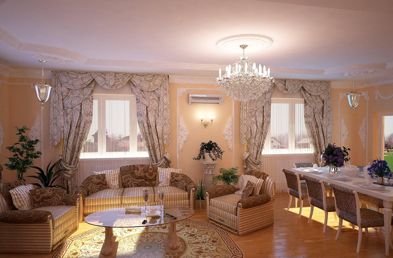 Вітальня в класичному стилі в