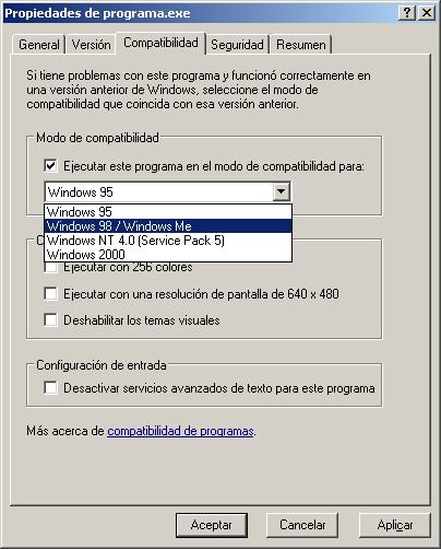 Propiedades de un ejecutable: Pestaña de compatibilidad