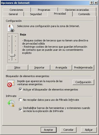 Opciones de Internet: pestaña Privacidad