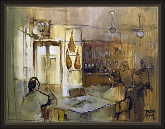 ALBARRACIN-TERUEL-RESTAURANTE-BAR-CAFE-CAFETERIAS-PINTURA-PINTOR-ERNEST DESCALS