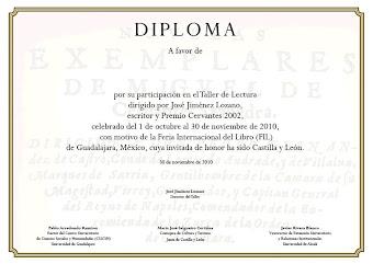 Diploma que será entregado a los participantes en el Taller de Lectura