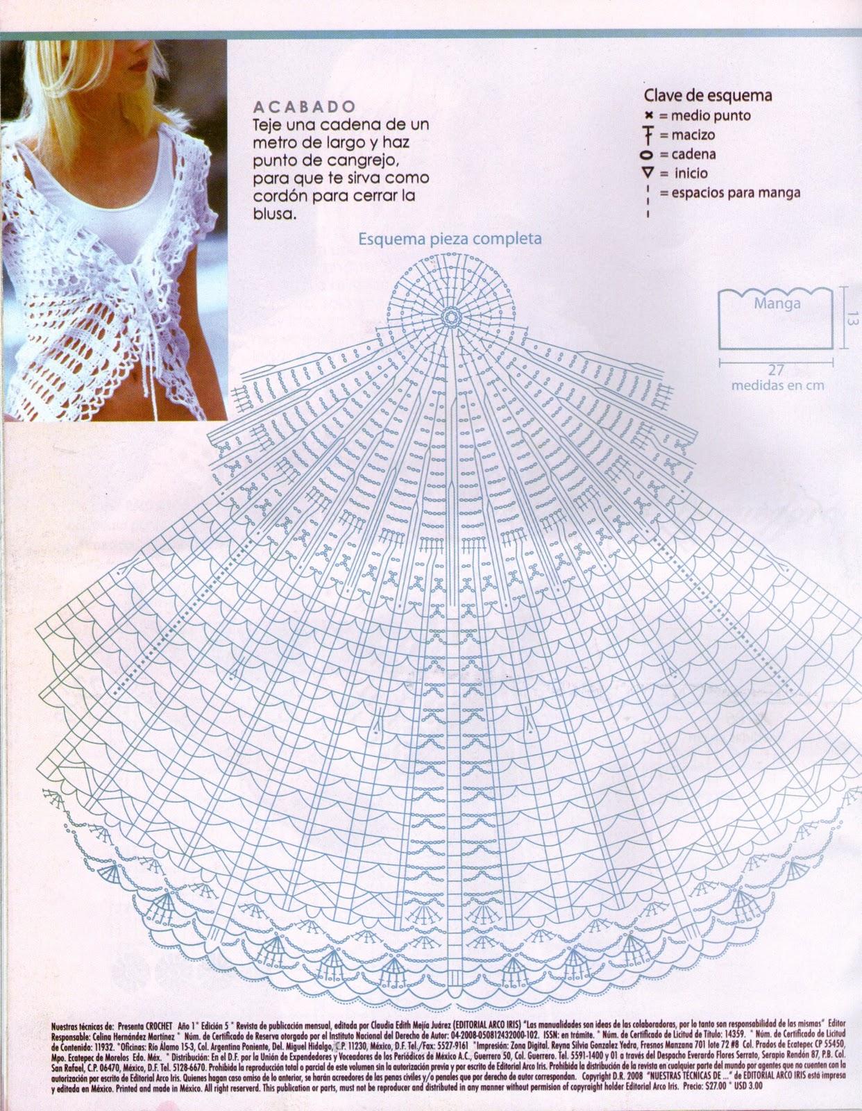 Mis labores en Crochet: Blusa en crochet blanca