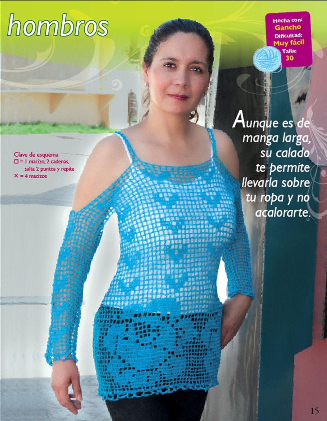 Mis labores en Crochet: Blusa en ganchillo Azul mi color preferido :)