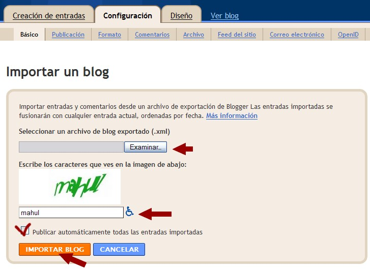 Importar entradas con Blogger