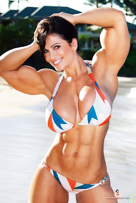 Denise Milani with muscle