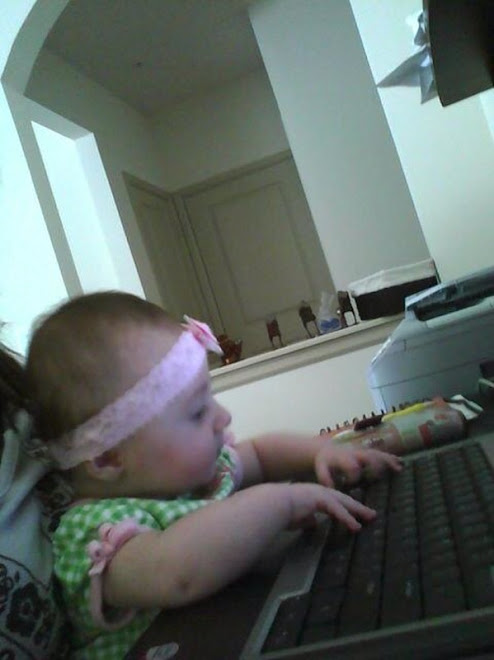 Lilly working on her Blogspot