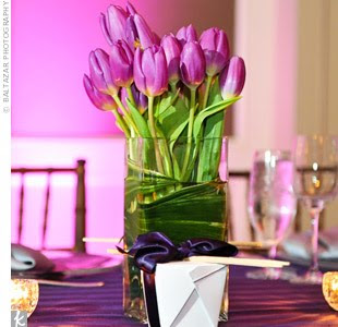 Paper doll romance spring flowers tulips we are in love with these gorgeous purple tulips and the cute favor box this is another great choice for the modern spring wedding mightylinksfo Image collections