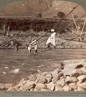 India 100 years ago: Crossing Jhelum river by a bridge of three ropes - Garli on Murree route to Kashmir, India