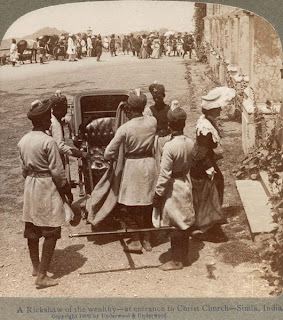 India 100 years ago: Rickshaw at entrance to Christ Church, Simla (Shimla)
