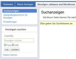 Beispiel für die Suche in der neuen AdSense-Benutzeroberfläche