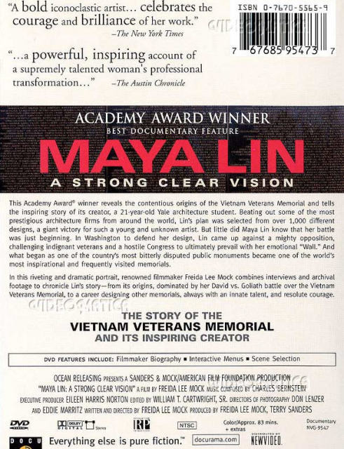 maya lin a strong clear vision essay The vietnam veterans memorial fund (vvmf) honored maya lin, the designer of the wall, on november 11 the organization officially expressed thanks and gratitude for her design of the memorial, and for her lifetime of artistic work as part of the 35th anniversary of the wall commemoration.