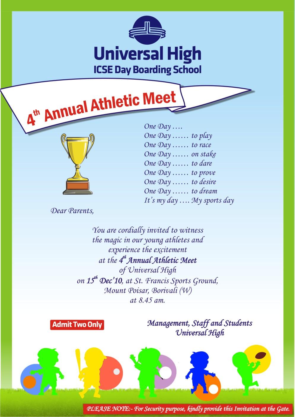 Invitation Card For School Sports Meet Oneletter Co