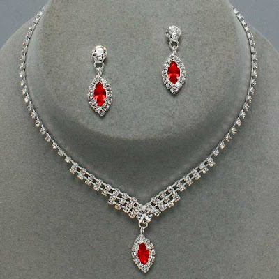 Beautiful Red and White Stone Necklace designs