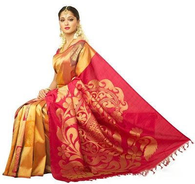 Anuska in Chennai Silk sari