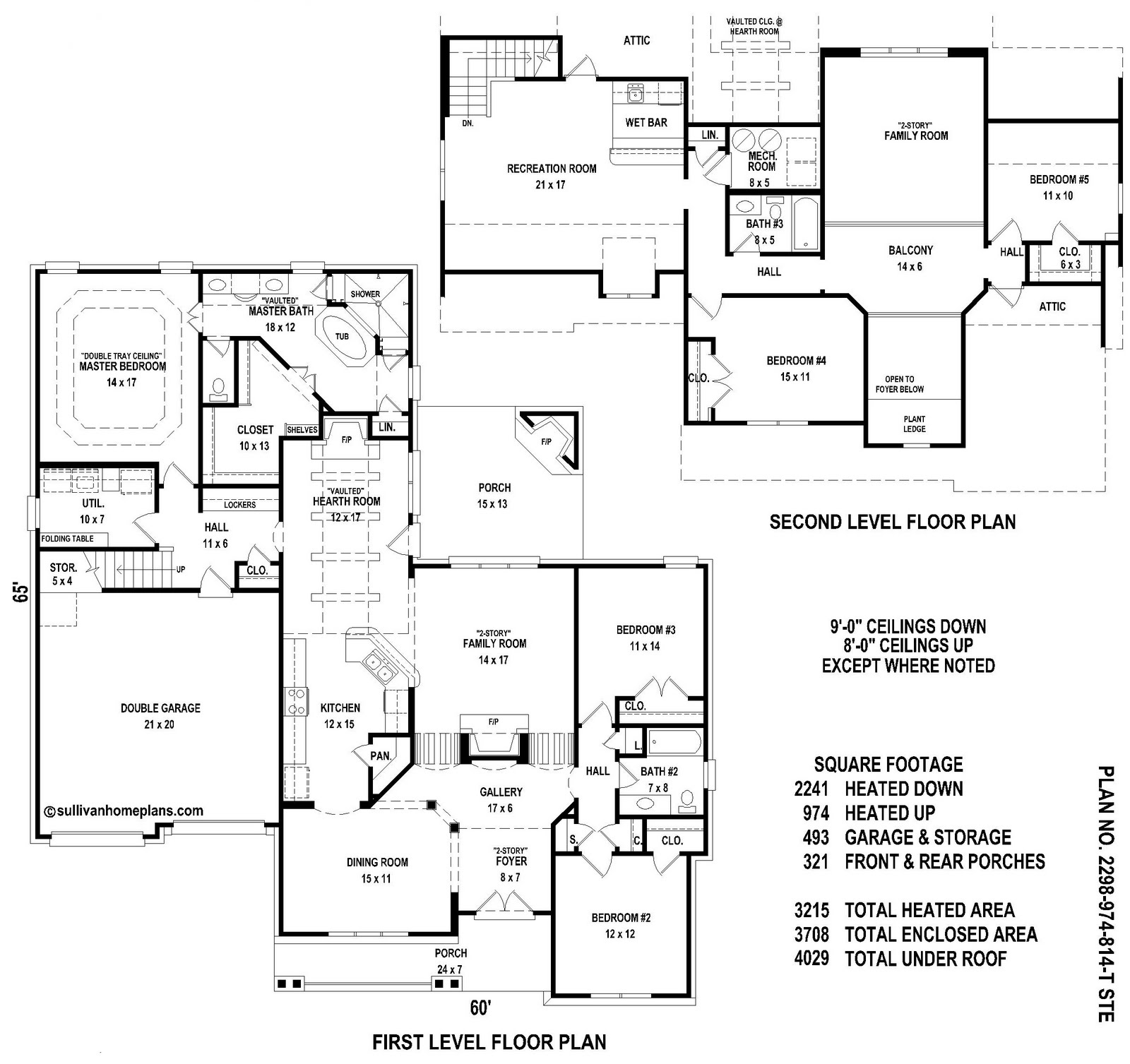 Sullivan home plans june 2010 for Five bedroom floor plans