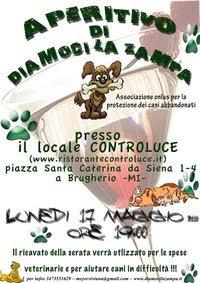 BRUGHERIO (MI), 17 MAGGIO: FRIZZANTE APERITIVO DI DIAMOCI LA ZAMPA ONLUS