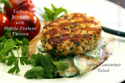 ... : Grilled Turkey Burgers with Middle Eastern Flavors on Pita Bread