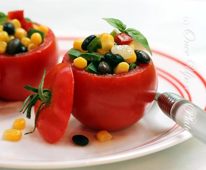 Vegetable Filled Fresh Tomato Salad with Herb Vinagrette