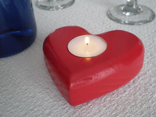 Smile Moon Woodworks - Red Valentine Heart Tea Light Candle Holder