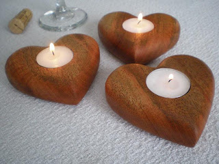 Smile Moon Woodworks - Valentine Heart Tea Light Candle Holder in Mahogany
