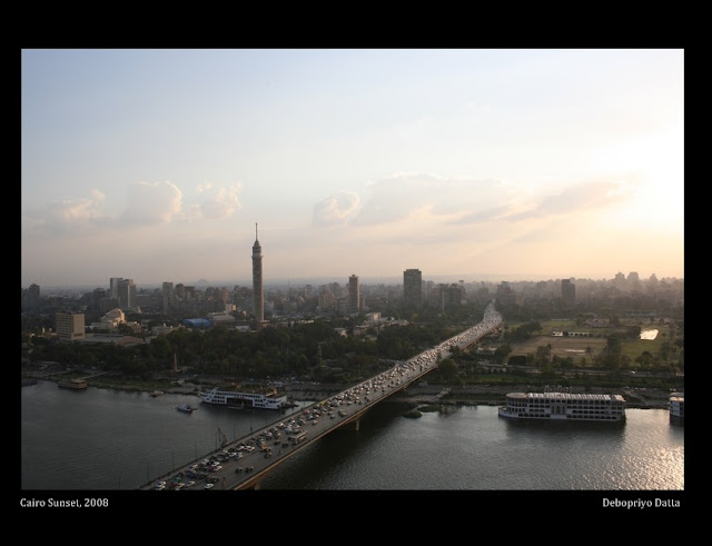 6th October Bridge Cairo & a view of the pyramids