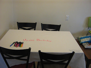 A fabric tablecloth that can be signed with fabric markers on every birthday. #DIY #keepsake #birthday