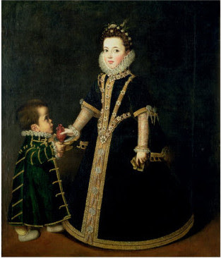 Girl and a Dwarf, Portrait of Margarita of Savoy by Anguissola