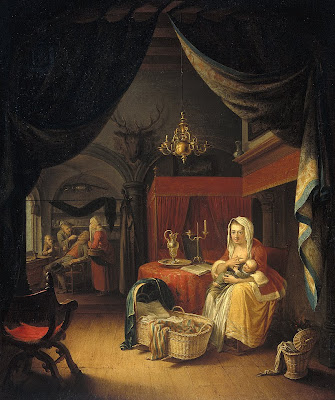 Painting by Gerrit Dou. Triptych Allegory of Art Training