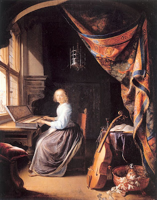 Gerrit Dou Painting A Lady Playing a Clavichord