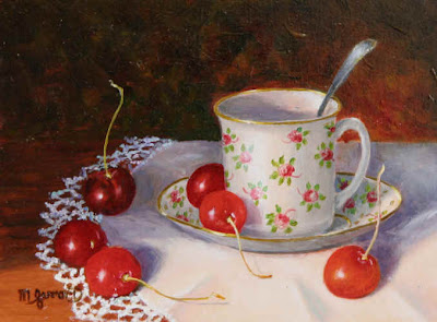 Still life painting. Teacup and Cherries by Maimie Gerrard