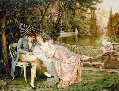 Painting by Joseph Frederic Charles Soulacroix, Flirtation