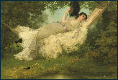 Painting by Jan van Beers, In the Hammock