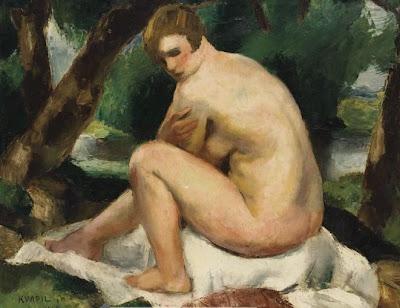 Nude Painting by Charles Kvapil Belgian Artist