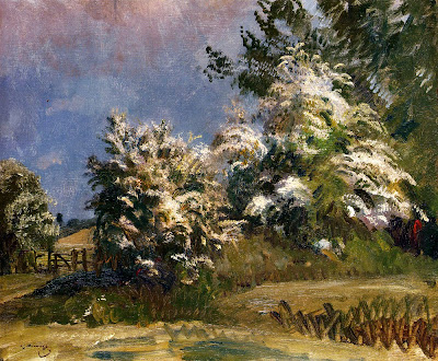 Spring Bloom in Painting. Alfred James Munnings, May Blossoms, Stoke-By-Nayland