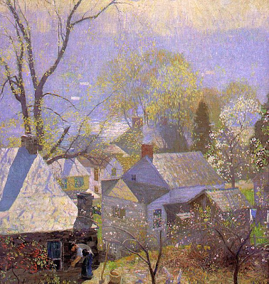 Spring Bloom in Painting. Daniel Garber, Springtime in the Village