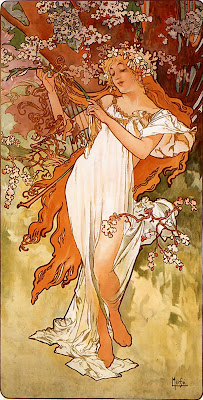 Spring Bloom in Painting. Alphonse Maria Mucha, Spring