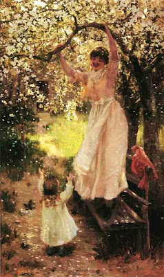 Spring Bloom in Painting. Hamilton Hamilton, Falling Apple Blossoms