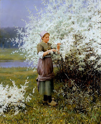 Spring Bloom in Painting. Daniel Ridgway Knight, Les Cerisiers