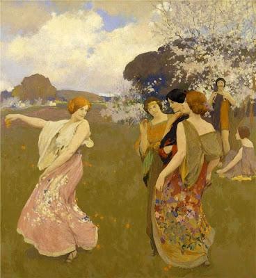 Spring Bloom in Painting. Arthur Frank Mathews. Spring Dance