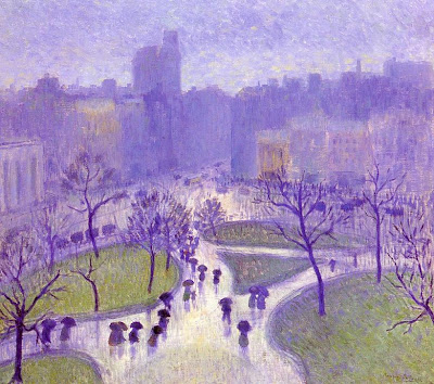 Painting by Bernhard Gutman (1869-1936). Rainy Day, Union Square