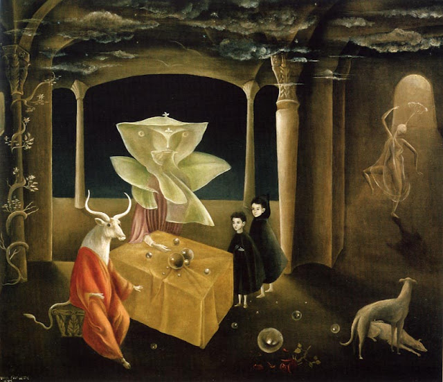 Leonora Carrington And then we saw the Daughter of the Minotaur,Crystal Ball in Painting, oil paintings, canvas painting,Figurative painting
