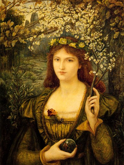 Marie Spartali Stillman, Madonna Pietra degli Scrovigni,Crystal Ball in Painting, oil paintings, canvas painting,Figurative painting